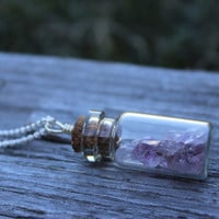 Amethyst in a bottle handmade Necklace silver wire wrap jewelry, February birthstone