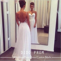 Custom Made Backless Bridal Gown,Beach Wedding Dress,Ivory Prom Dresses,Lace Hem Wedding Gown,Beach Wedding Dresses