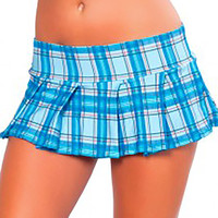 Baby Blue Plaid 6 Inch Mini Skirt-Plaid Mini Skirts