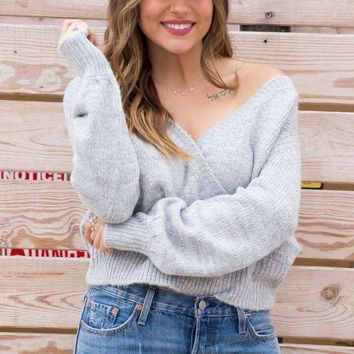ONETOW Day-First? Grey Knit Wrap Sweater Top