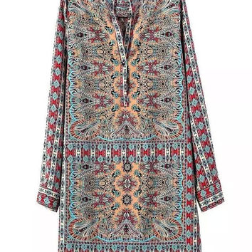 Stylish Print V-neck Long Sleeve Chiffon One Piece Dress [5013175108]