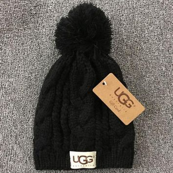 PEAPNV UGG Trending Fashion Casual  Knit And Pom Hat Cap Warm Woolen Hat Black
