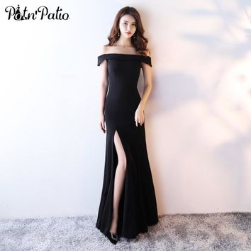 PotN'Patio Elegant Mermaid Evening Dresses Black 2017 New Off The Shoulder Sexy Slit Long Evening Gowns
