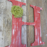 Letter H Rustic Chic Wooden red distressed letter burlap flower