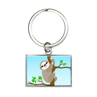 Sloth Just Hanging Around Rectangle Keychain