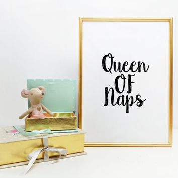 Queen of naps Modern Home Decor Bedroom Decor Quote Poster Silly Print Funny Poster Minimalist Black and White Typography Print Printable