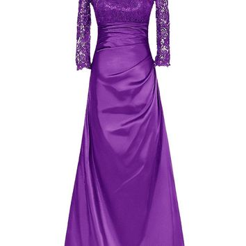 US Women's Long Mother of Bride Dress Long Sleeved Bridesmaid Dress Party Gown