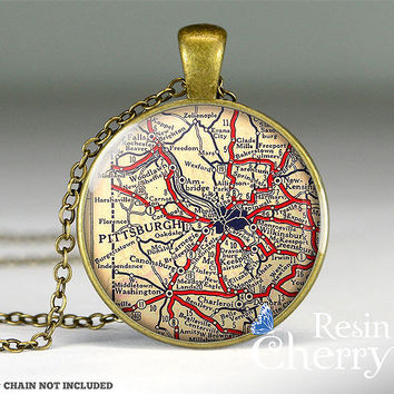 Pittsburgh map resin pendants,vintage map pendant charms,Pennsylvania- M0530CP