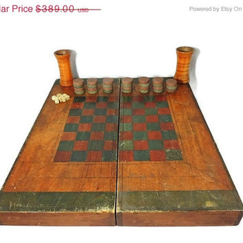 Antique Game Board Folk Art Checkers Chess Backgammon