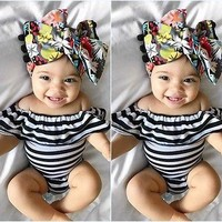 Fashion Newborn Baby Girl Romper Cotton Off Shoulder Ruffle Striped Romper Jumpsuit Summer Baby Girl Clothes Sunsuit