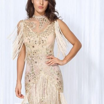 Beige Lace Dress,Tassel Fringe,Sexy Sleeveless Dress