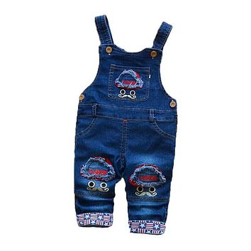 Spring Autumn Boys Pants Children Boys Jeans Overalls for Baby Boys Strap Pants Children Boys Cartoon Denim Jumpsuit