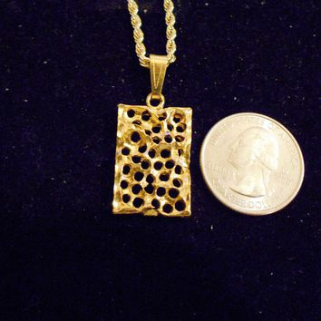bling 14kt yellow gold plated good luck lucky nugget swiss cheese sign symbol casino gambling pendant charm 24 inch rope chain hip hop trendy fashion necklace jewelry