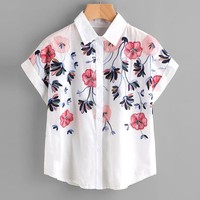 Floral Embroidery Shirt Women Roll Up Sleeve Button Top Short Sleeve Office Work Wear Elegant Blouse