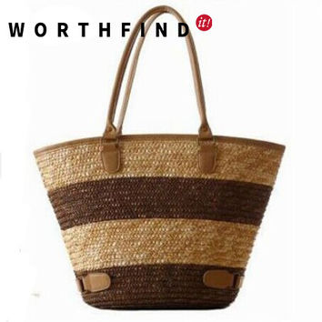 WORTHFIND Fashion Straw Handbags  Straw Summer Beach Tote Big Shoulder Bag Purse Handbag Straw Beach Bag