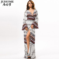 4XL 5XL big size long sleeve maxi dresses 2017 Sexy robe women clothing Plus Size summer floor length beach tunic boho sundress