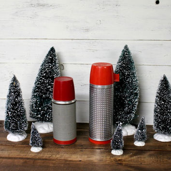 Set of 2 Vintage Thermos - Vintage Christmas - Antique Thermos - Aladdin Thermos - Lumberjack - Woodland - Rustic Decor - Rustic Christmas