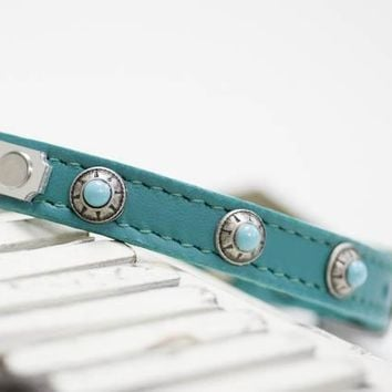 Personalized Leather with Turquoise Conchos