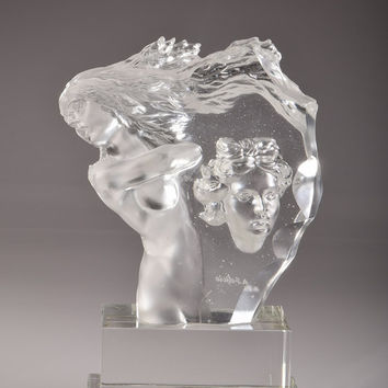 Crystal Figurine of Woman Hand-Crafted Quality Glass Clear and Stained