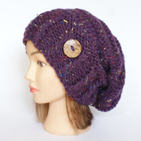 Purple Tweed slouch hat women - beanies hat - Slouch Beanie - Large hat - chunky hat - Chunky Knit Winter Fall Accessories , Slouchy hat
