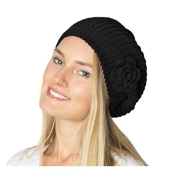 Womens Beret Beanie Hat with Flower