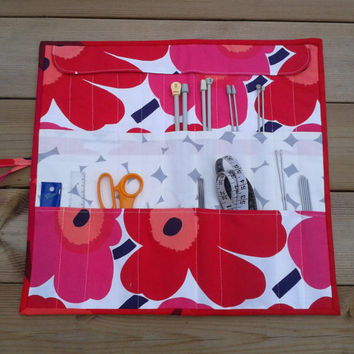 Marimekko Knitting Needle Case, Knitting Needle Organizer, Knitting Needle Roll up Case, Knitting Accessory, Marimekko fabric