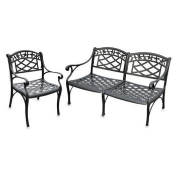 Crosley 2-Piece Sedona Outdoor Loveseat & Chair Set in Black