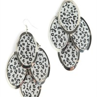 Teardrop Earring with Leopard Print and Glitter