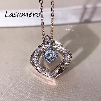 LASAMERO Halo 0.21 CTW Round Cut ruby Center Pave Set 18k Gold Natural Diamond Pendant Necklace