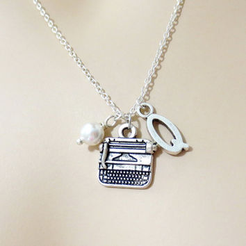 Typewriter, Necklace, Personalized, Necklace, Writer, Jewelry, Charm, Necklace, Pendant, Initial, Necklace, Gift for her, Jewelry