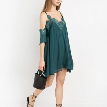 EMERALD CHIFFON LACE PLEATED OFF THE SHOULDER DRESS BY NEW REVIVAL