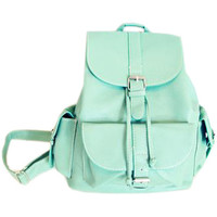 ROMWE | Magnetic Button Multi-pockets Mint Green Backbag, The Latest Street Fashion