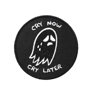 Cry Now, Cry Later Ghost Patch - Black
