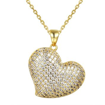 Tilted Puffed Heart 14k Gold Finish Silver Pendant Valentine's
