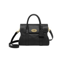 Small Bayswater Satchel in Black Natural Leather With Brass | Women's Bags | Mulberry