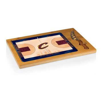 Cleveland Cavaliers - 'Icon' Glass Top Serving Tray & Knife Set by Picnic Time (Basketball Design)