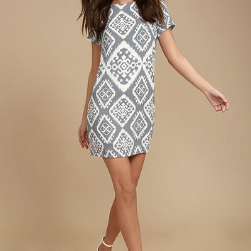 Give Me a Print Slate Grey Print Shift Dress