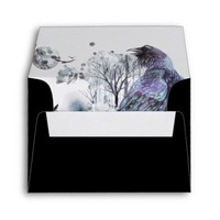 Black Envelopes - Raven Abstract Winter Scene