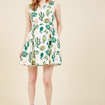 Dashing Darling A-Line Dress in Succulents