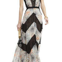 PRINT AND LACE-BLOCKED STRAPLESS DRESS