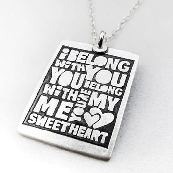 Valentine's day necklace - sweetheart - love - silver quote valentines jewelry - anniversary wedding
