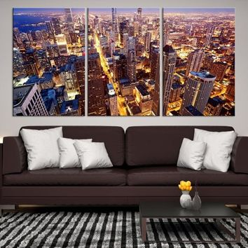 46227 - Chicago Wall Art Canvas Print - Extra Large Chicago City Night Canvas Print