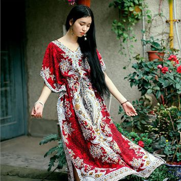 2017 Beach Dress Kaftan Ethnic Rayon Maxi Dress Women Vintage Tunic Boho Casual Printed Long Dress Vestidos De Fiesta