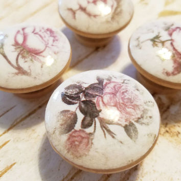 Shabby Chic Pink Rose Flower Knob Drawer Pulls, Handmade Floral Cabinet Pull Handles, Light Pink Garden Rose Dresser Knobs, Made To Order