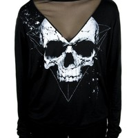Skull Print with Mesh Panels Black Long Sleeve Sweater