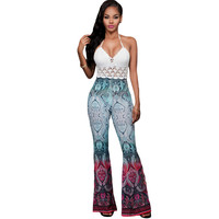 Paisley Print Palazzo High Waist Flare Pants Top Pants With Elastic Waist High Waisted Trousers SM6