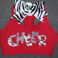 Zebra & Glitter Cheer Sports Bra With by ThingsToCheerAbout