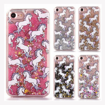 Unicorn Horse Dynamic Glitter Stars Dynamic Liquid Phone Case For iPhone 4S 5S SE 5C 6 6S 7 Plus Cases For Samsung S5 S6 S7 Edge