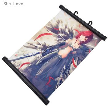 She Love Anime Fairy Tail Natsu Erza Character Wall Scroll Hanging Poster Painting Home Decor