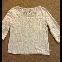 Hollister 3/4 Sleeve cream colored Lace Top, sz M